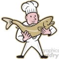 chef cook holding trout fish