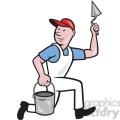 plasterer mason worker running pail  gif, png, jpg, eps, svg, pdf