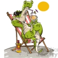 crocodile relaxing in a chair drinking a drink