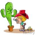 kid sticking up a cactus