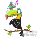 tucan listening to small bird sing