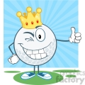 5722 Royalty Free Clip Art Winking Golf Ball Cartoon Character With Gold Crown Holding A Thumb Up
