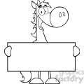 5684 royalty free clip art horse cartoon mascot character holding a banner copy  gif, png, jpg, eps, svg, pdf
