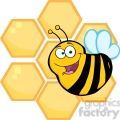 5591 Royalty Free Clip Art Happy Bee In Front Of A Orange Bee Hives