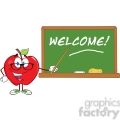 smiling apple teacher character with a pointer in front of chalkboard