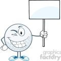 5732 Royalty Free Clip Art Winking Golf Ball Holding A Blank Sign