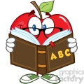 5772 Royalty Free Clip Art Smiling Apple Teacher Character Reading A Book