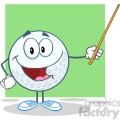 5750 Royalty Free Clip Art Smiling Golf Ball Holding A Pointer