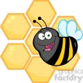 5593 Royalty Free Clip Art Happy Bumble Bee In Front Of A Orange Bee Hives