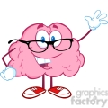 5810 Royalty Free Clip Art Smiling Brain Teacher Cartoon Character Waving For Greeting