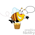 5578 royalty free clip art smiling bee flying with a honey bucket and speech bubble