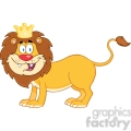 5634 Royalty Free Clip Art Happy Lion King Cartoon Mascot Character