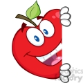 5799 Royalty Free Clip Art Smiling Red Apple Hiding Behind A Sign