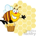 5580 royalty free clip art smiling bee flying with a honey bucket in front of a orange bee hives
