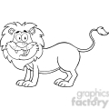 5631 Royalty Free Clip Art Happy Lion Cartoon Mascot Character