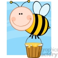 5603 royalty free clip art smiling bee flying with a honey bucket