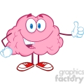 Royalty Free Clip Art Happy Brain Character Giving A Thumb Up