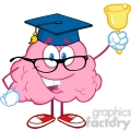 5850 Royalty Free Clip Art Smiling Brain Teacher Character Ringing A Bell