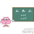 5817 Royalty Free Clip Art Smiling Brain Teacher Character With A Pointer In Front Of Chalkboard With Text ABC