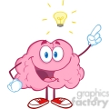5865 royalty free clip art happy brain character with a big idea