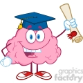 5845 Royalty Free Clip Art Happy Brain Character Graduate Holding up A Diploma