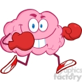 5838 Royalty Free Clip Art Brain Cartoon Character Running With Boxing Gloves