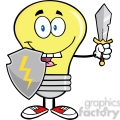6027 Royalty Free Clip Art Light Bulb Guarder With Shield And Sword