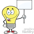 6055 Royalty Free Clip Art Light Bulb Cartoon Character Holding Up A Blank Sign