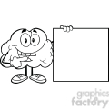 5995 Royalty Free Clip Art Happy Brain Cartoon Character Showing A Blank Sign