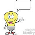 6009 Royalty Free Clip Art Light Bulb Cartoon Mascot Character Waving For Greeting With Speech Bubble