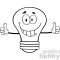 6144 Royalty Free Clip Art Smiling Light Bulb Cartoon Character Giving A Double Thumbs Up