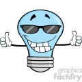 6160 Royalty Free Clip Art Smiling Blue Light Bulb With Sunglasses Giving A Double Thumbs Up