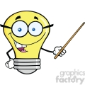6166 royalty free clip art light bulb character with glasses holding a pointer  gif, png, jpg, eps, svg, pdf