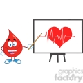 6188 royalty free clip art red blood drop character with pointer presenting ecg graph on red heart  gif, png, jpg, eps, svg, pdf
