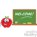6512 Royalty Free Clip Art Smiling Apple Teacher Character With A Pointer In Front Of Chalkboard With Text