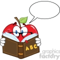 6524 Royalty Free Clip Art Smiling Apple Teacher Character Reading A Book With Speech Bubble