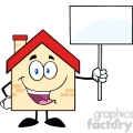 6480 Royalty Free Clip Art House Cartoon Character Holding Up A Blank Sign [Converted]
