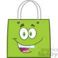 6722 Royalty Free Clip Art Happy Green Shopping Bag Cartoon Mascot Character