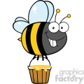 6551 Royalty Free Clip Art Smiling Cute Bee Flying With A Honey Bucket