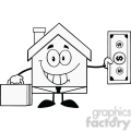 6451 Royalty Free Clip Art Black and White Smiling House Businessman Carrying A Briefcase And Showing A Dollar Bill
