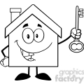 6483 Royalty Free Clip Art Black and White House Cartoon Character Holding Up A Key