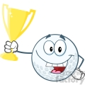 6492 Royalty Free Clip Art Happy Golf Ball Holding Golden Trophy Cup