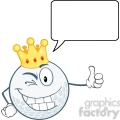 6488 Royalty Free Clip Art Winking Golf Ball Cartoon Character With Gold Crown Holding A Thumb Up And Speech Bubble
