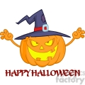 6611 Royalty Free Clip Art Scaring Halloween Pumpkin With A Witch Hat And Sign