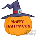 6606 Royalty Free Clip Art Pumpkin With A Witch Hat And Text Cartoon Illustration