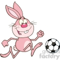 royalty free rf clipart illustration cute pink rabbit cartoon character playing with soccer ball  gif, png, jpg, eps, svg, pdf