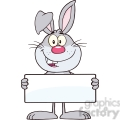 Royalty Free RF Clipart Illustration Funny Gray Rabbit Cartoon Character Holding A Banner