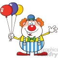 Royalty Free RF Clipart Illustration Funny Clown Cartoon Character With Balloons And Waving