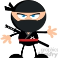 royalty free rf clipart illustration angry ninja warrior cartoon character flat design