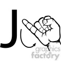 ASL sign language J clipart illustration worksheet